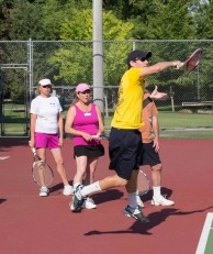 John Hein demonstrates crushing forehands
