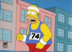 Homer Simpson jogging